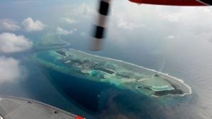 Nogle øer i Male atollen set fra vandflyveren